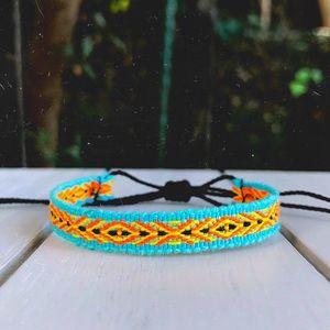 2 for $10 ► Blue | Neon Orange Boho Woven Bracelet